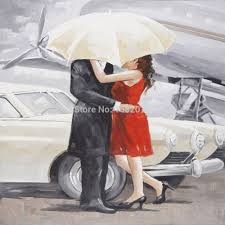 portrait cheap china online wholesale buy stores shop discount skills artist pure hand painted romantic oil painting for home decorative lover with white umbrella