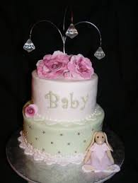 Shabby Chic Baby Shower Cakes by Baby Shower Pink Lime Green Lace Pearls Ribbon Roses