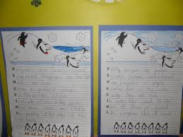 penguin writing paper patties classroom penguin acrostics and penguin footprint art using p at the top then an e then an n and separate each letter with a marker line then have the kids come up to the whiteboard and add words or