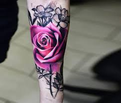 34 best purple long stem rose tattoo images on pinterest flowers