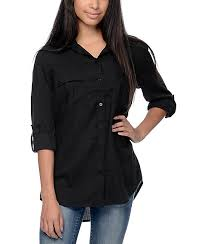 black button up blouse empyre corazon solid black button up shirt zumiez
