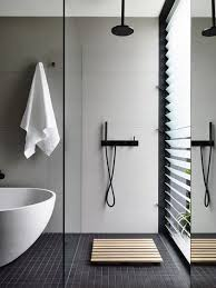 Award Winning Monochromatic Bathroom By Minosa Design by Minimal Bathroom With Garden View Gallery Australian Interior