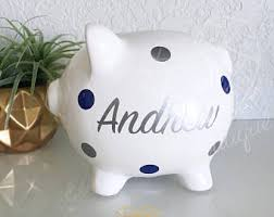 silver piggy bank for baby kids bank etsy