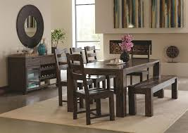 contemporary dining table with wavy wood grain by coaster wolf