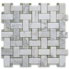 calacatta gold 1x2 basketweave mosaic tile w green dots honed