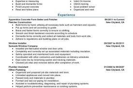 Construction Job Resume by Concrete Finisher Resume Template Reentrycorps