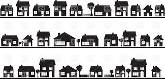 House Silhouette by Row Houses Clipart Collection