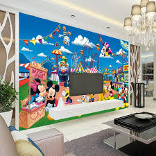 wholesale 3d wall murals for baby kids room 3d photo mural mickey