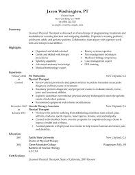 Sample Resume For No Experience by Physical Therapy Aide Resume For Summary With Highlights And