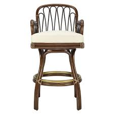 Upholstered Bar Stools With Backs Dark Brown Stained Rattan Bar Stool With Back And Arm Having Round