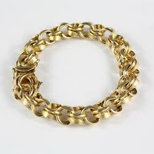 double gold bracelet images Pre owned 14 karat solid yellow gold double link curb charm bracelet jpg