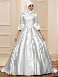 muslim wedding dresses half sleeve appliques muslim wedding dress tbdress