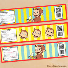 free printable curious george water bottle labels kids u0027 parties