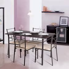 Modern Dining Room Tables And Chairs Brown Ikayaa Modern 5pcs Metal Frame Padded Dining Table Chairs