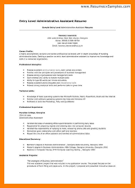 Sle Resume For An Administrative Assistant Entry Level Sles Of Entry Level Resumes Entry Level Resume Templates To