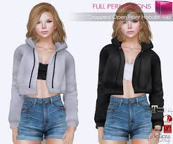 second life marketplace full perm cropped open front hoodie top