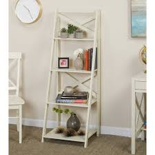 Tiered Bookshelves by Simple Living Antique White 4 Tiered X Shelf Ladder Case Free