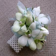 corsages for prom white orchids with pearl wristlet prom corsage prom173 prom173