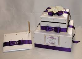 eggplant ribbon white card box guest book with eggplant purple ribbon white