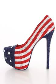 American Flag Shoes Red And Blue Heels Fs Heel