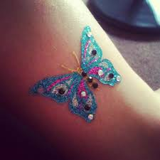 beautiful glitter butterfly on ankle tattooshunt com
