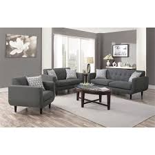coaster stansall 3 piece upholstered modern sofa set in gray