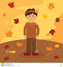 thanksgiving indian costume thanksgiving indian boy cartoon stock vector image 73114018