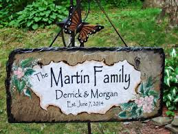 personalized signs for home decorating custom rustic slate personalized family name names date sign for