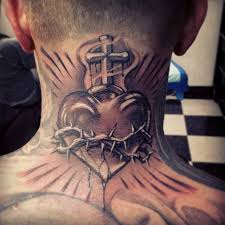 cross with heart u0026 crown of thorns tattoo on back
