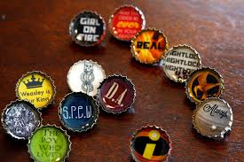 resin bottle cap pins tutorial with harry potter and hunger games