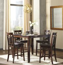 5 pc barnnox casual brown color counter table set table and 4