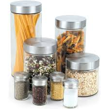 glass kitchen canisters cook n home 8 glass canister and spice jar set with lids