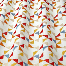 iliv scandi collection prism scarlet embroidered geometric curtain