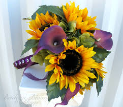 Sunflower Wedding Bouquet Bridal Bouquet Sunflower Purple Calla Lily Silk Wedding Flowers