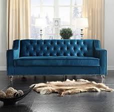 navy blue velvet sofa amazon com iconic home dylan modern tufted navy blue velvet sofa