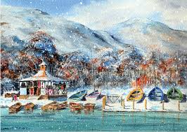 st marys hospice christmas cards coniston water in the snow