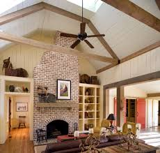 boston reface brick fireplace bedroom farmhouse with truss