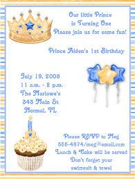 blue prince 1st birthday party invitations