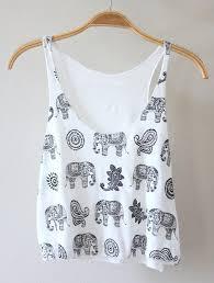 elephant blouse t shirt tank top crop crop tops tank top white black