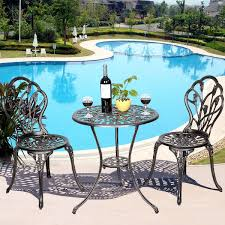 Bistro Patio Table Antique Floral 3pc Bistro Patio Set Pool Garden Furniture Table