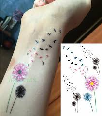 waterproof temporary tattoo sticker fly birds with dandelion