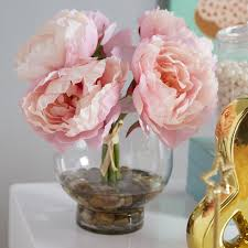 faux peonies peonies in a glass vase with river rocks and faux water reviews