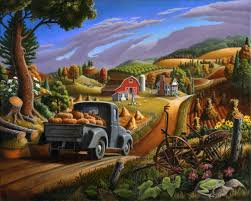 landscape paintings autumn appalachian thanksgiving pumpkins