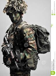camouflage soldier fully equipped royalty free stock photography