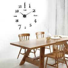 Decorative Wall Clocks For Living Room Large Black Mirror Wall Clock 3d Hanging Clock Bracket Clock