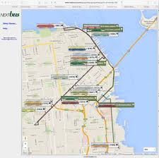 San Francisco Tram Map by E Line Market Street Railway