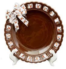 decorative chocolate ceramic ribbon plate traditional