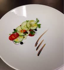 dining room at kendall college cucumber strawberry salad w reduced balsamic truffle oil