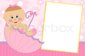 blank template for baby s greetings card or photo frame in pink