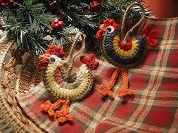 downloadable pdf pattern crocheted rooster ornaments